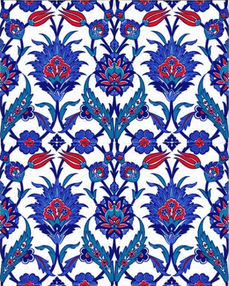 AC-1019 Blue Flowering Tile Ceramic Tile, Kütahya tiles, Mosque tiles, Turkish bath, arabic mosque, Bathroom, hotel decoration, prices, samples