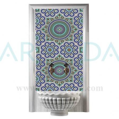 60x100 Marok Geometrik Desen Türk Hamamı çini Panosu