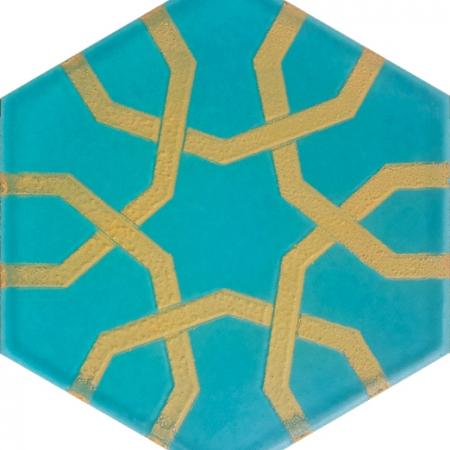 AL-10 Metalik Altıgen Cini Seramik Karo, Kutahya çinisi İznik çinileri Türk hamamı, mosque, Banyo otel dekorasyon, fiyatları hexagon tile decorations, ornek