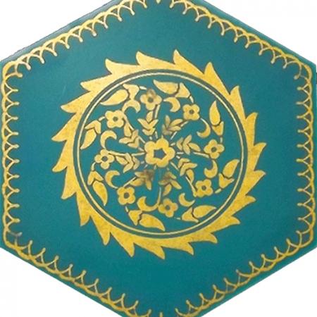AL-11 Altın Altıgen Cini Seramik Karo, Kutahya çinisi İznik çinileri Türk hamamı, mosque, Banyo otel dekorasyon, fiyatları hexagon tile decorations, ornek