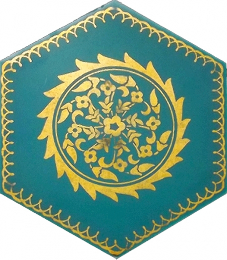 AL-11 Gold Hexagon Ceramic Tile, Kütahya ceramic Iznik ceramics Turkish bath, mosque, Bathroom hotel decoration, prices hexagon tile decorations, example