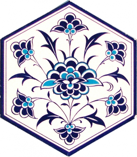 AL-1 iznik White Flower Hexagon Ceramic Tile, Kutahya tile, tiles, Turkish bath, mosque, Bathroom, hotel decoration prices, hexagon tile, decorations, sample