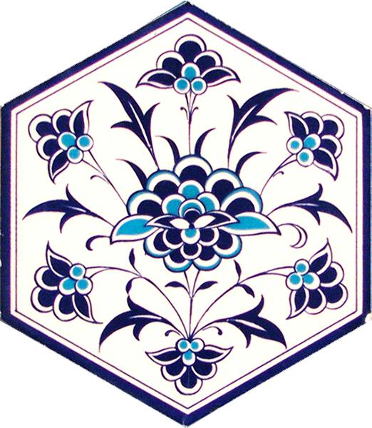 AL-1 iznik Beyaz Ciçek Altıgen Cini Karo, Kutahya çinisi, çinileri, Türk hamamı, mosque, Banyo, otel dekorasyon fiyatları, hexagon tile, decorations, ornek