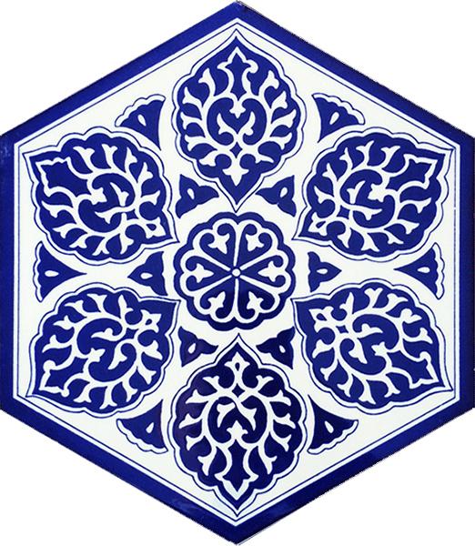 AL-2 Mavi beyaz iznik Desen Altıgen Cini Karo, Kutahya çinisi, çinileri, Türk hamamı, mosque, Banyo, otel dekorasyon fiyatları, hexagon tile, decorations