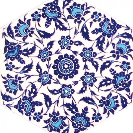 AL-3 Kutahya Ciçek Desenli Altıgen Cini Karo, çinisi, İznik çinileri, Türk hamamı, mosque, Banyo, otel dekorasyon fiyatları, hexagon tile, decorations
