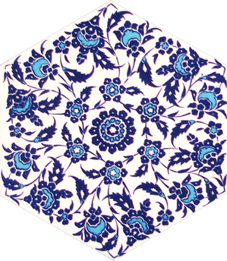 AL-3 Kutahya Flower Patterned Hexagon Ceramic Tile, tiles, Turkish Ceramics Turkish bath, mosque, Bathroom, hotel decoration prices, hexagon tile, decorations
