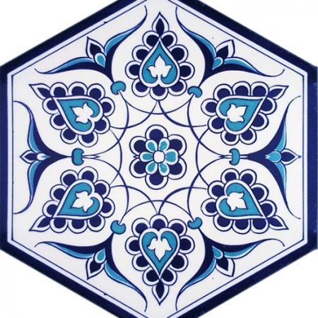 AL-4 iznik Desenli Altıgen Cini Karo, Kutahya çinisi, İznik çinileri, Türk hamamı, mosque, Banyo, otel dekorasyon fiyatları, hexagon tile, decorations