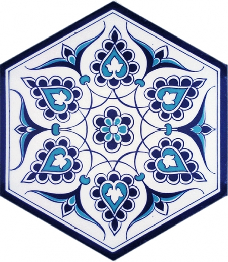 AL-4 Turkish Patterned Hexagonal Ceramic Tile, Kütahya tile, İznik ceramics, Turkish bath, mosque, Bathroom, hotel decoration prices, hexagon tile, decorations