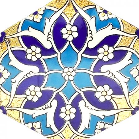 AL-5 Rumi Altın baskılı Altıgen Çini Karo, Kutahya çinisi, İznik çinileri, Türk hamamı, mosque, Banyo, otel dekorasyon fiyatları, hexagon tile, decorations