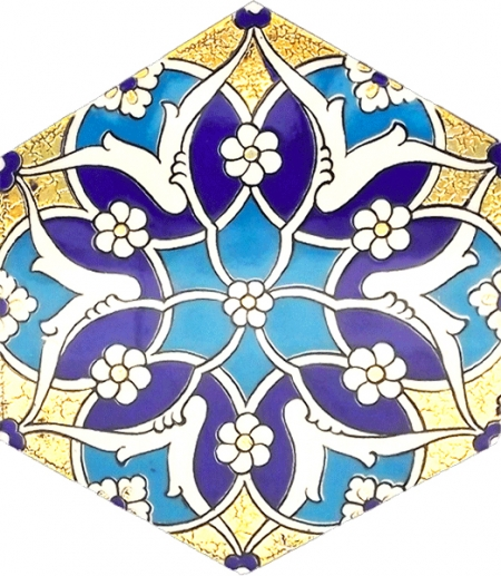 AL-5 Rumi Gold Printed Hexagon Ceramic Tile, Turkish Ceramics, Iznik Tiles, Turkish Bath, Mosque, Bathroom, Hotel Decoration Prices, Hexagon Tile, Decorations