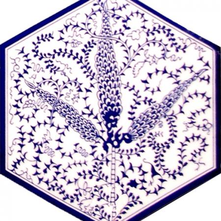 AL-6 Mavi selvi Altıgen Cini Seramik Karo, Kutahya çinisi, İznik çinileri, Türk hamamı, mosque, Banyo, otel dekorasyon fiyatları, hexagon tile, decorations