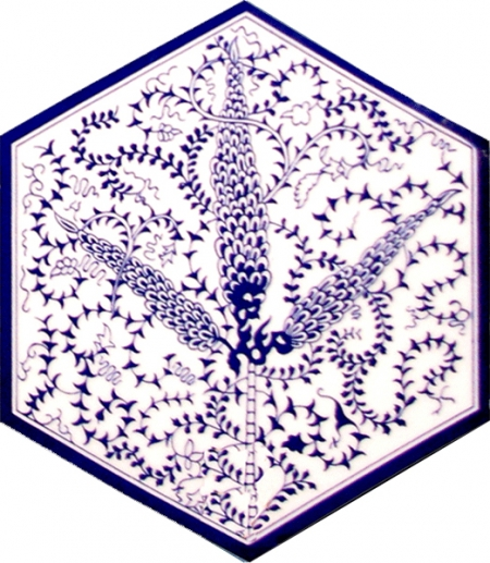 AL-6 Blue cypress Hexagon Ceramic Tile, Kutahya ceramics, Turkish Ceramic Models, Turkish bath, mosque, Bathroom, hotel decoration prices, hexagon tile, decorations