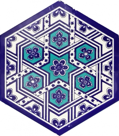 AL-7 Turkmen Hexagonal Ceramic Tile, Turkish Ceramic, Kütahya Ceramic, Turkish bath, mosque, Bathroom, hotel decoration prices, hexagon tile, decorations,