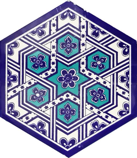 AL-7 Türkmen Altıgen Cini Seramik Karo, Kutahya çinisi, İznik çinileri, Türk hamamı, mosque, Banyo, otel dekorasyon fiyatları, hexagon tile, decorations,