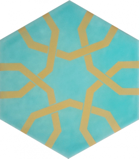 AL-9 Metallic Yellow Hexagon Ceramic Tile Kutahya Ceramic Iznik Turkish Ceramics Turkish Bath Mosque, Bathroom Hotel Decoration Prices Hexagon Tile Decorations