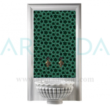 15x17 Zümrüt Yeşil Seramik Yıldız Altıgen Çini Türk Hamamı