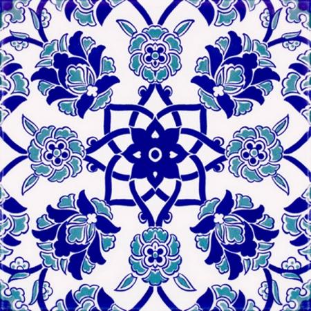 20x20 Cm Ac 10 Selçuk Mavi Çiçek Desenli Kütahya Çini