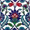 20x20 Cm Ac 19 Laleli Desen Osmanlı Çini Seramik Karo