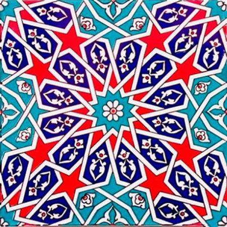 20x20 Cm Ac 28 Geometrik Desenli İznik Rumi Çini Karo