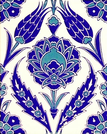20x25 Cm Ac 308 Mavi Beyaz Lale desen Kütahya Çini Karo