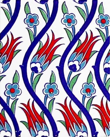 20x25 Cm Ac 1020 Sarmaşık Laleli Desen Çini Seramik Karo