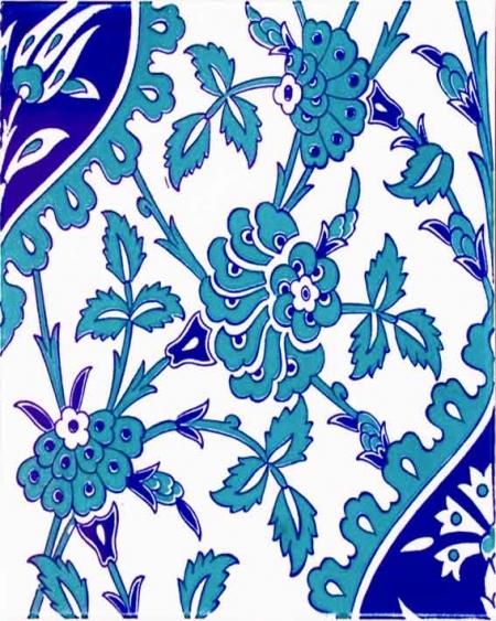 20x25 Cm Ac 1042 Mavi Beyaz Kütahya Çini Seramik Karo