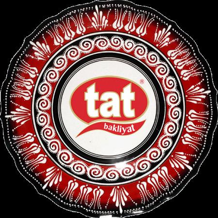 30 cm Kırmızı Beyaz Lale Desenli Kabartma Çini Tabak