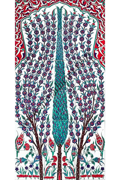 60x120 iznik Selvi Cini Desenli El Dekoru 633 Kütahya ve iznik çinileri el yapımı çini karo türk çini sanatı desenleri osmanlı motifleri türk hamamı çini pano banyo mutfak çiniler seramik otel ev cami metro dekorasyon mosque masjid hand made interior ceramic tiles decoration turkısh bath bathroom fiyatları satıcıları