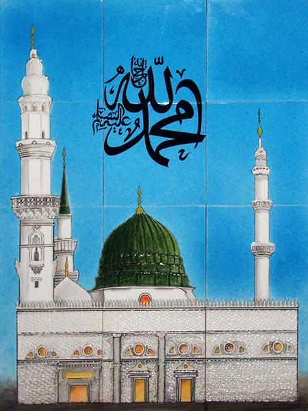 60x80 Medine-i Münevvere El Dekoru Cini Resim Kütahya iznik çinisi cami mihrap ayetli dekorasyon mosque hand made tiles decorations interior islamic art
