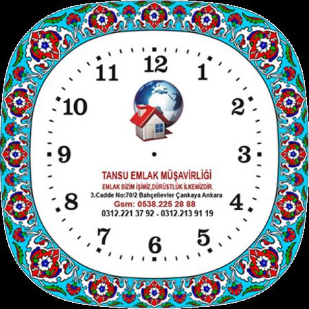 25 cm. Porselen Saat-2 Turkuaz Promosyon Kurumsal Hediyelik Özel Günler İçin Anneler Babalar Sevgililer Doğum Günü Hatıra