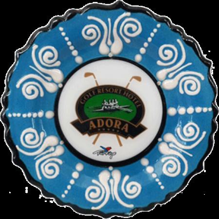12 cm. Mavi Kabartma Çini Resimli Tabak
