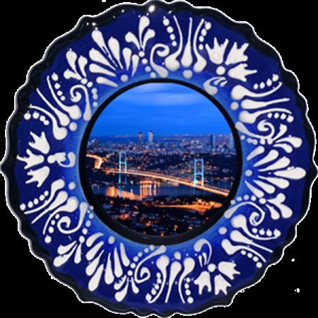 18 cm. Mavi Kabartma Çini Resim baskılı Tabak