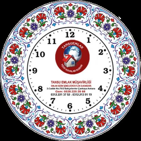 25 cm. Porselen Saat 3 Karanfil Promosyon Kurumsal Hediyelik Özel Günler İçin Anneler Babalar Sevgililer Doğum Günü Hatıra
