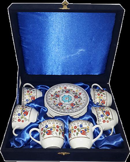 6'lı Porselen Fincan Takımı 2 Kütahya Hatırası Kurumsal Hediyelik Özel Günler İçin Anneler Babalar Sevgililer Doğum Günü Hatıra
