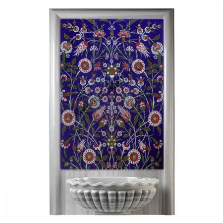75x99 Klasik iznik Desen Kobalt Çiçekli Türk Hamamı