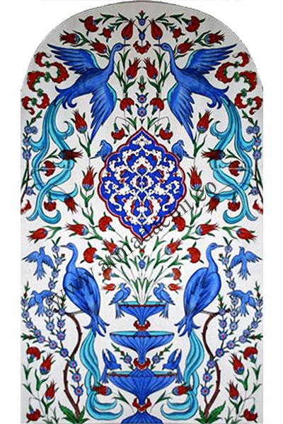 80x160 Guverin Kus Desenli El Yapımı 835 Cini Pano Kütahya ve iznik çinileri el yapımı karo türk çini sanatı desenleri osmanlı motifleri türk hamamı çini pano banyo mutfak çiniler seramik otel ev cami metro dekorasyon mosque masjid hand made interior ceramic tiles decoration turkısh bath bathroom fiyatları satıcıları