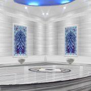 80x120 Kobalt Hayat Ağacı Desenli Çini Türk Hamamı