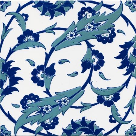 20x20 Ac 32 Selçuklu Mavi Beyaz Desen Kütahya Çini Karo