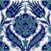 20x20 Ac 54 Lale Desen Mavi Beyaz Çini Karo