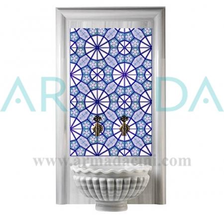 AC 3A Geometrik Mavi Beyaz Desenli Çini Türk Hamamı