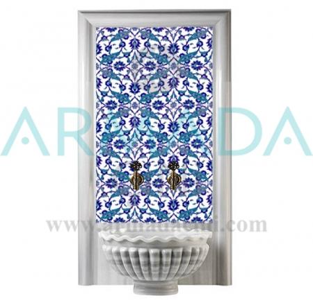 AC 32 Mavi Beyaz Çiçekli Desen Çini Türk Hamamı