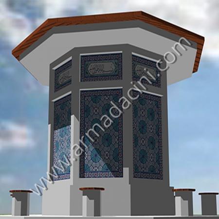 Geometrik Cini Desenli Besmele Yazılı Cami Şadırvanı