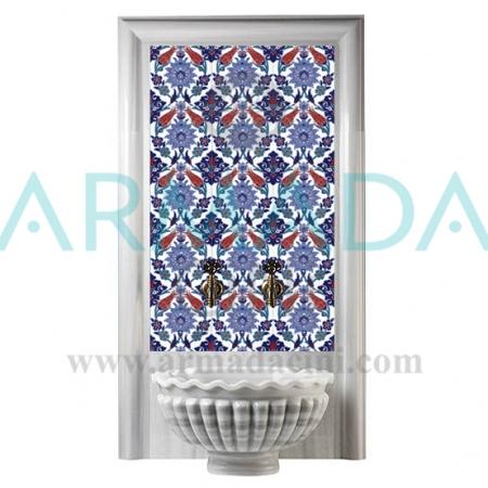 AC 4 Kobalt Çiçekli Kırmızı Laleli Türk Hamamı Çinisi