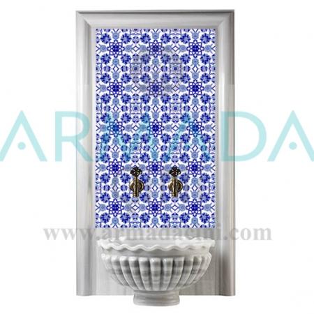 AC 10 Mavi Çiçek Desenli Türk Hamamı Çinileri