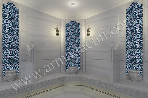 25x40 SP-406 Selcuk Desenli Turkuaz Mavi Cini Karo iznik kütahya Osmanlı dönemi pano örnekleri cami çinileri dekorasyon, mosque islamic art interior tile