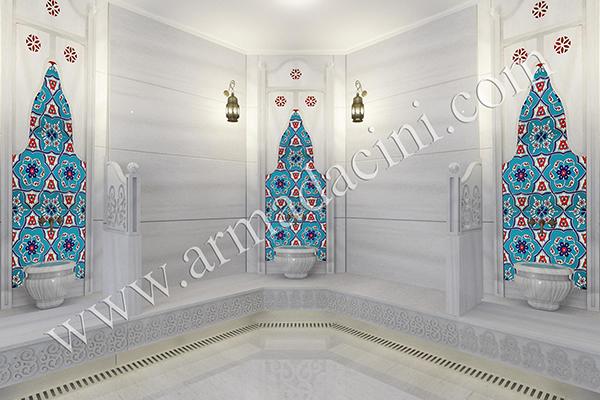 25x40 SP-413 iznik Desenli Mavi Kırmızı Cini Karo hat sanatı Osmanlı dönemi pano örnekleri cami çinileri dekorasyon, mosque islamic art interior tile