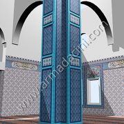 Kare kolon turkuaz çini kaplama örnekleri