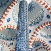 Zincir Desen Kolon Çini Tasarımı Mavi Beyaz