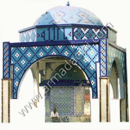 Cami Sadırvan Mozaik Cini Karo Kubbe kaplama