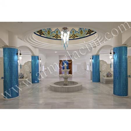 Türk Hamamı Dekorasyonu Turkuaz Brezza Kütahya Çini Örneği Kütahya ve iznik çinileri türk hamamı çini pano seramik dekorasyon hand made interior tile